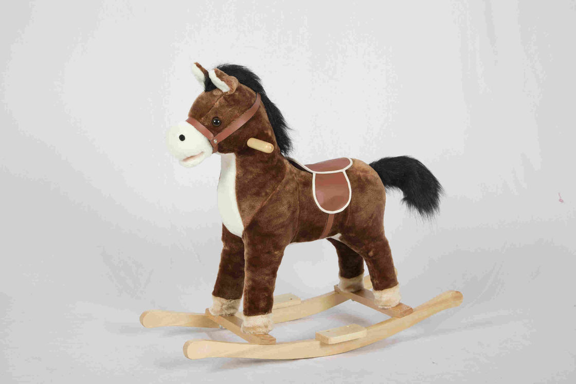 2.1KG Brown Wooden Rocking Horse Pony With Realistic Sounds / Two Curved Rails